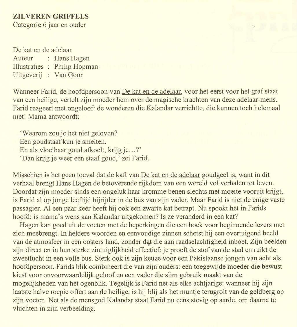 De kat en de adelaar - juryrapport Zilveren Griffel